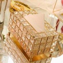 Стильная металлическая Хрустальная коробка для салфеток, съемный держатель для салфеток, для кухни, гостиной, столовой, украшение