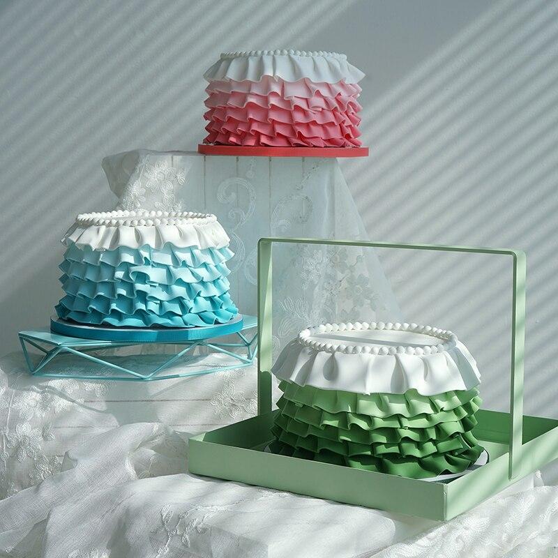 Modèles de gâteau fondant artificiel chemise 6 pouces en argile Tiffany bleu/rose/vert pour présentoir pour magasin accessoires de photographie