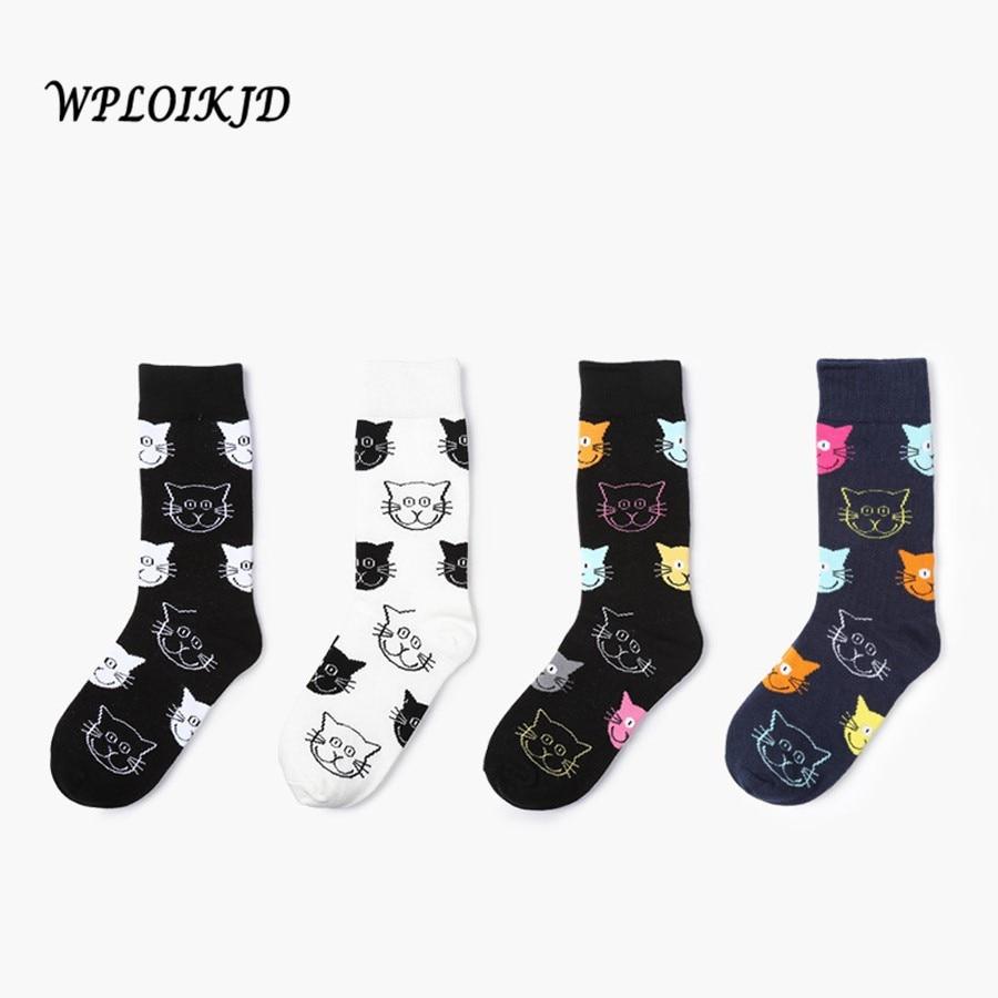 [WPLOIKJD]4 Style Cute Animals Cartoon Face Cat Pattern Cotton Women   Socks   Sweet Female Funny   Sock   Fashion Unisex Meias No Box