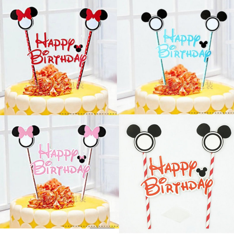 Marvelous 1Set Happy Birthday Mickey Minnie Mouse Cartoon Cake Topper Funny Birthday Cards Online Elaedamsfinfo