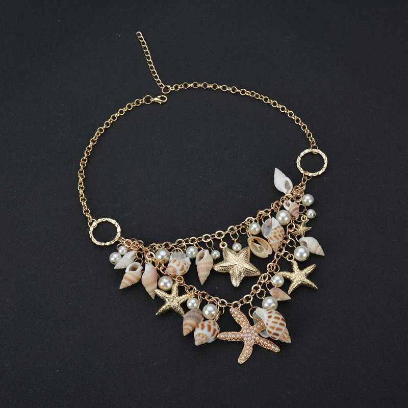 Conch Shell Starfish Simulated Pearl Necklace Sweet Fashion Sea Star Multitiere Necklaces & Pendants For Women Wedding Jewelry