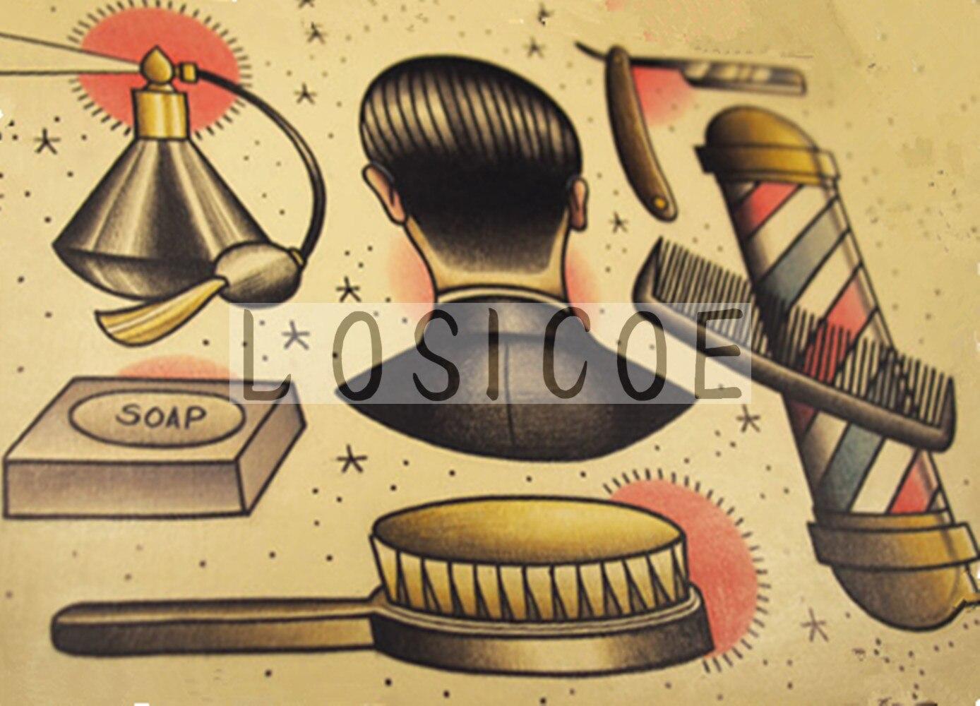 Hairdresser vintage tattoos pattern kraft paper poster wall sticker art print painting Hair salon barber shop decor 30X42 CM