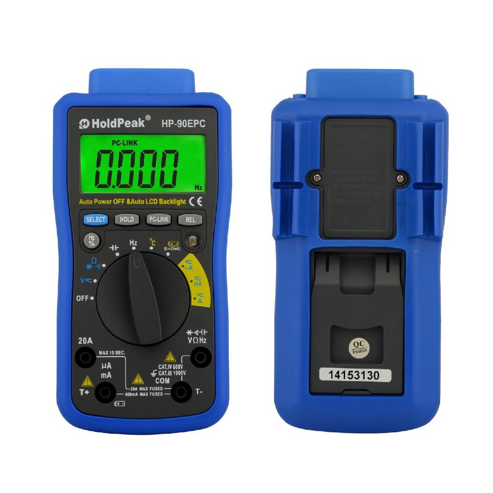 Tools : HoldPeak HP-90EPC Multimeter Digital USB Multimeter AC DC Voltage Current C F Temperature Tester DMM USB Interface Support PC