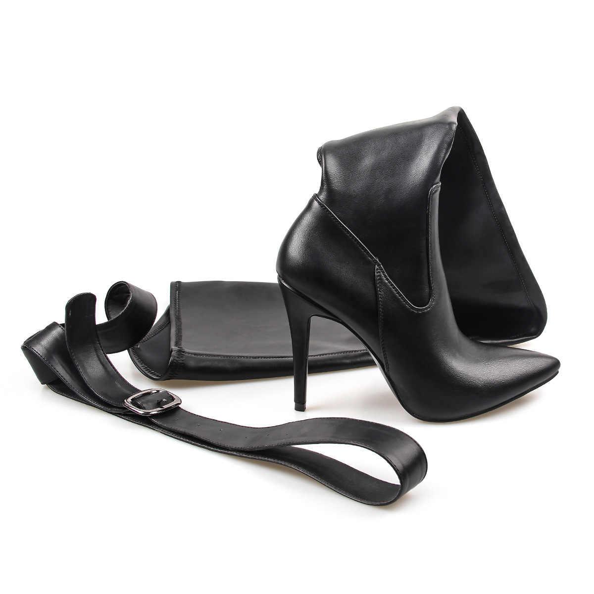 2019 Mới Phụ Nữ Trên Đầu Gối Giày PU Quá Đầu Gối Cổ Cao Boot Rihanna Phong Cách Giày Nữ 10cm giày cao Gót Giày Mũi Nhọn