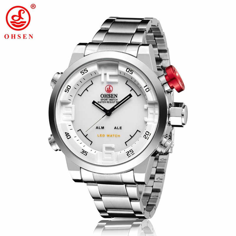 2017 OHSEN Watches Men's Casual Watch Multi-function Led Watches Men Dual Time Zone With Alarm Sports Diver Quartz Wristwatches
