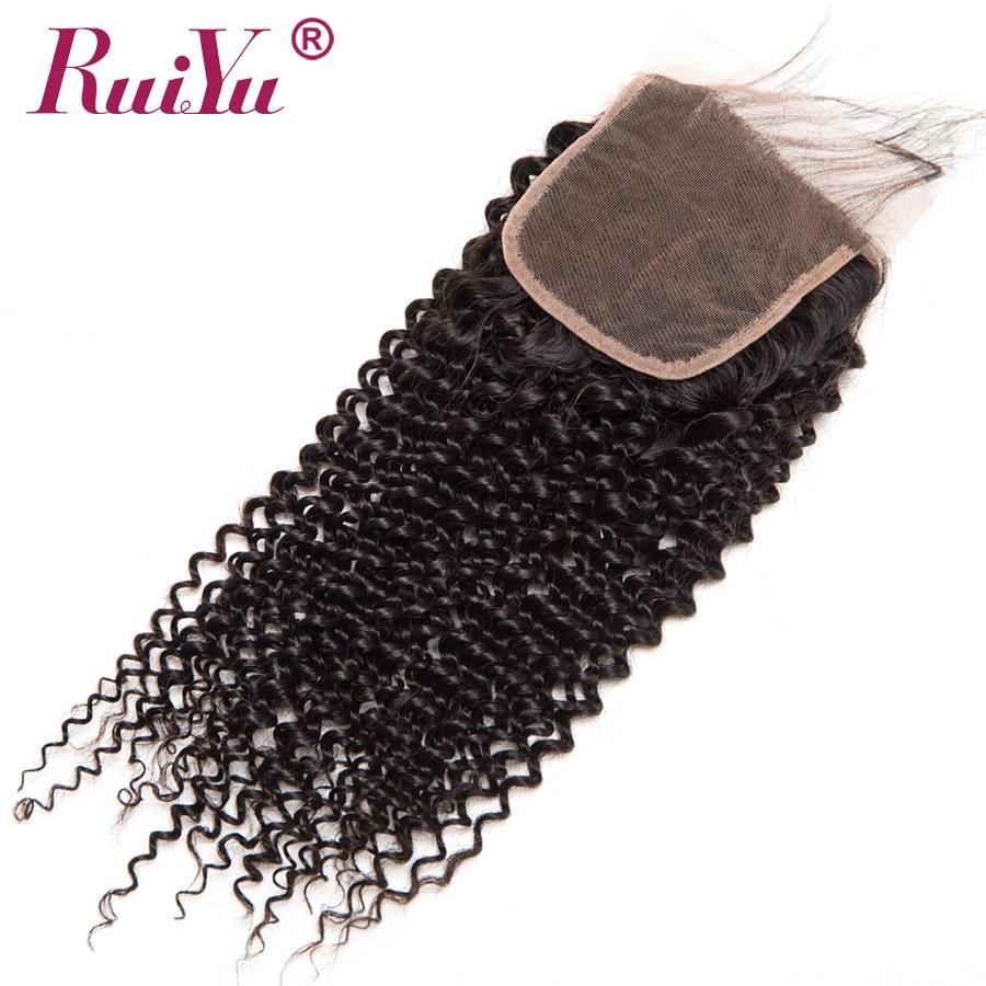 Cierre de encaje rizado Afro brasileño RUIYU 100% Cierre de cabello humano con pelo de bebé no Remy 4x4 pulgadas nudos blanqueados de encaje suizo-in Cierres from Extensiones de cabello y pelucas on AliExpress - 11.11_Double 11_Singles' Day 1