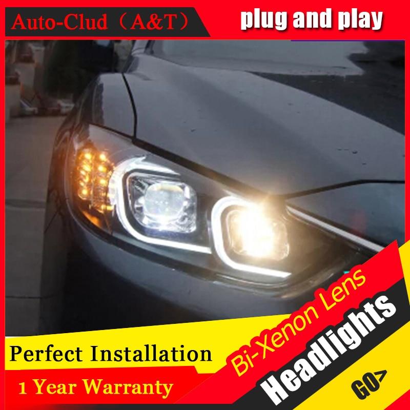 Auto Clud headlights For Mazda 6 Atenza 2014 15 LED light bar DRL D2H xenon mazda