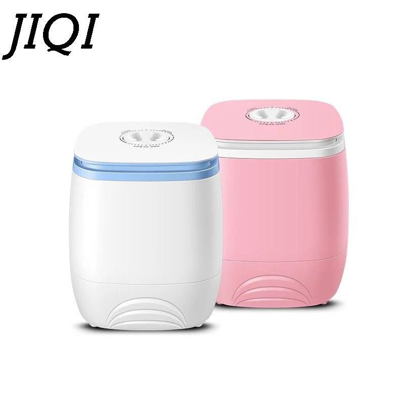 JIQI Électrique Mini lave linge Top Chargement Semi-Automatique 2.0 kg Lave-Vêtement + 1.5 kg Sèche-Unique Baignoire Tissu Séchage
