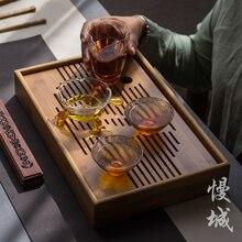 Бамбуковый чайный поднос, домашний чайный поднос кунг-фу, прямоугольный чайный столик для хранения воды