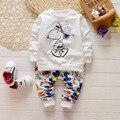 Baby Boy Одежда Наборы 2016 Новая Весна 3 М-4 Т Хлопка Новорожденного Мальчик щенок Одежда набор С Длинным Рукавом Одежда Для Новорожденных мальчик