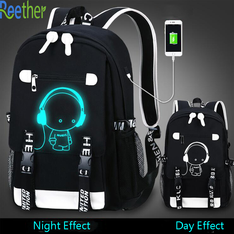 Reether School Backpack Glow In Dark Student Backpacks Computer Bag Usb Charging Port School Bookbags Black Backpack