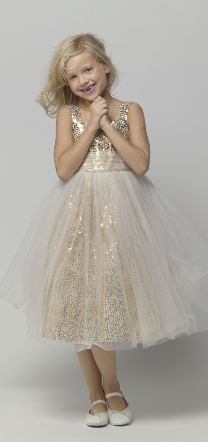 Cute Gold Sequin   Girl   Party   Dress     Girls   Pageant   Dresses   New Tulle   Flower     Girl     Dresses   Formal Gowns