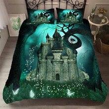 طقم مفروشات سرير ثلاثي الأبعاد غطاء لحاف مطبوع طقم سرير خيالي للبحر وغابة خيالية منسوجات منزلية للسرير للبالغين مع وسادة # MJSL10
