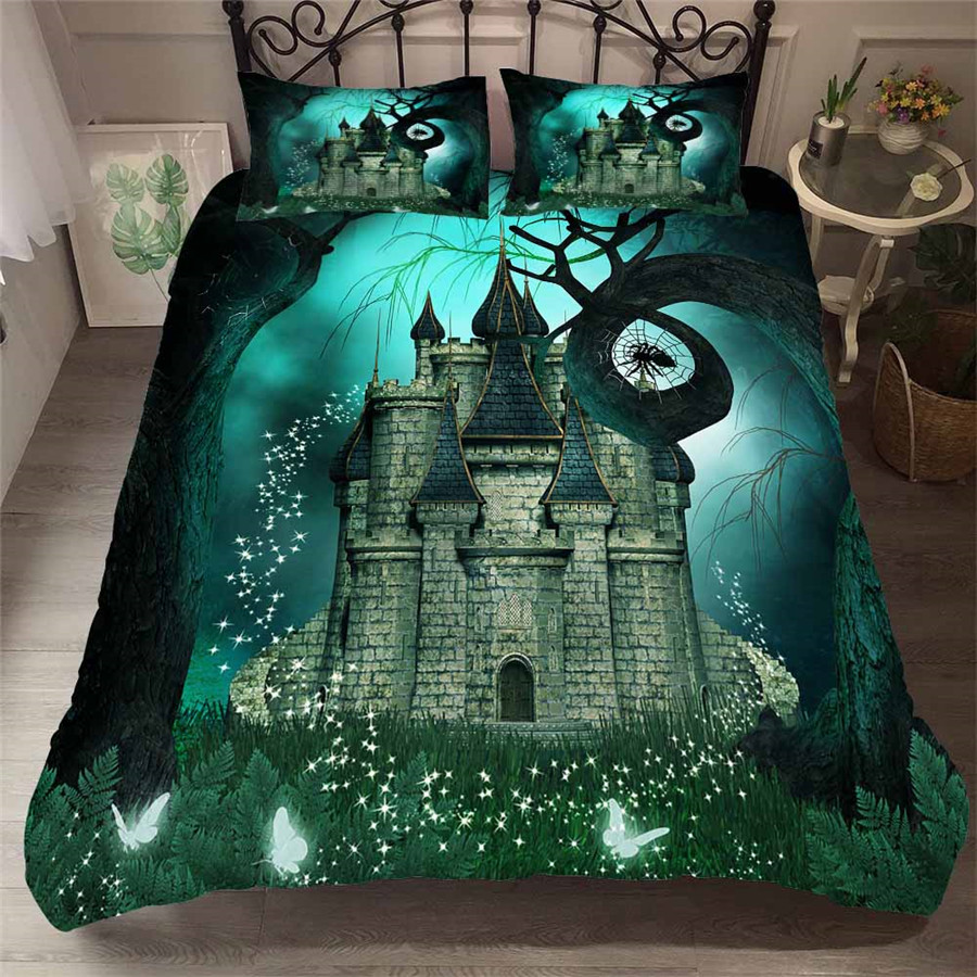 Bedding Set 3D Printed Duvet Cover Bed Set Sea Fantasy Fairy Forest Home Textiles for Adults Bedclothes with Pillowcase #MJSL10-in Bedding Sets from Home & Garden