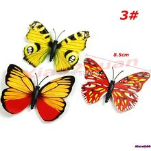 Hot Sale 8.5cm 12PCS/lot  3D Magnetic Butterfly Room Wall Decoration Fridge Magnets Sticke Free Shipping