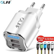OLAF Dual USB Charger Mobile Phone Chargers Travel Adapter Wall Charger For Samsung Xiaomi Tablet Micro USB Cable Charger Cord