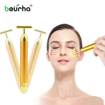 Face Lift Tool 24k Gold Color V Face Slimming roller Vibration Facial Beauty Roller Massager Stick Skin Tightening Wrinkle Bar