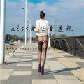 10d Ultra fino transparente meias de veludo stovepipe sexy cintura baixa feminino abdômen desenho legging
