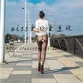 Ultrafino inconsútil 10d de copa medias atractivas de terciopelo bajo la cintura dibujo del abdomen femenino legging
