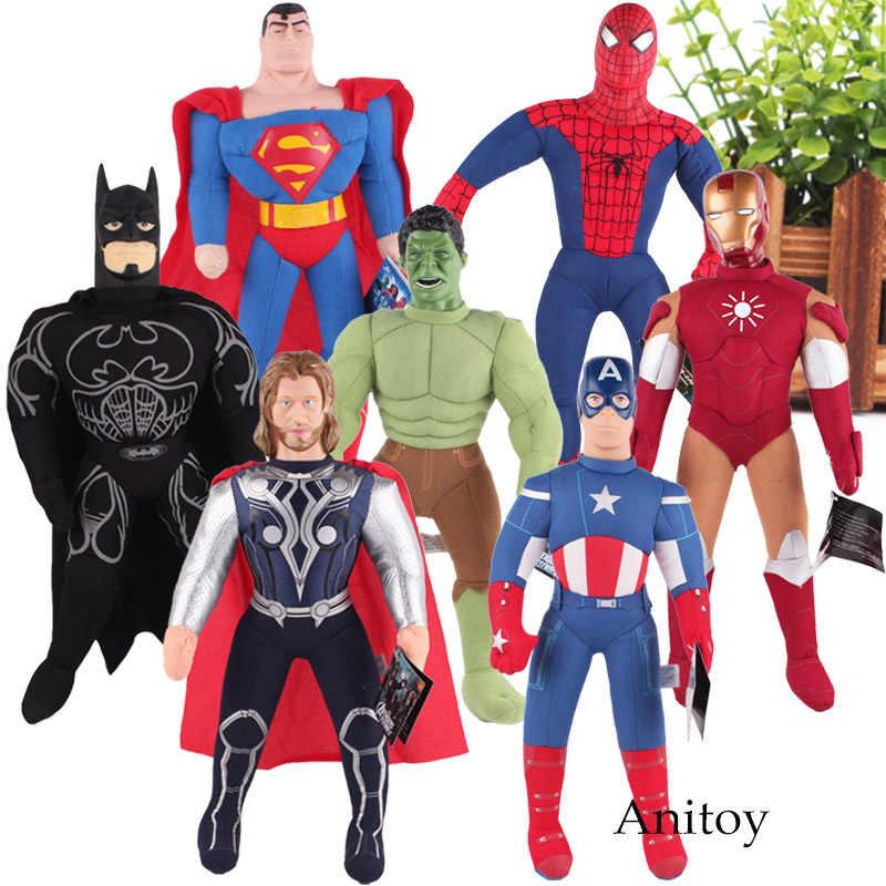 أعجوبة اللعب سوبرمان سبايدرمان خارقة ثور الرجل الحديدي الكابتن الأمريكية باتمان سوبرمان ألعاب من القطيفة لينة محشوة دمى الاطفال