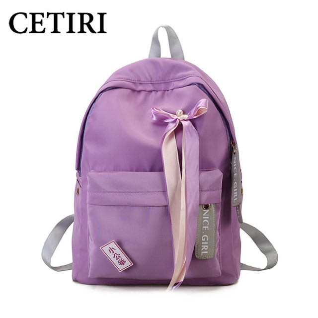 CETIRI Nylon Backpack School Bag Women Backpack Travel bags Ribbon Bagpack Cute Backbag Rugzak Meisje Mochila Escolar Menina Sac