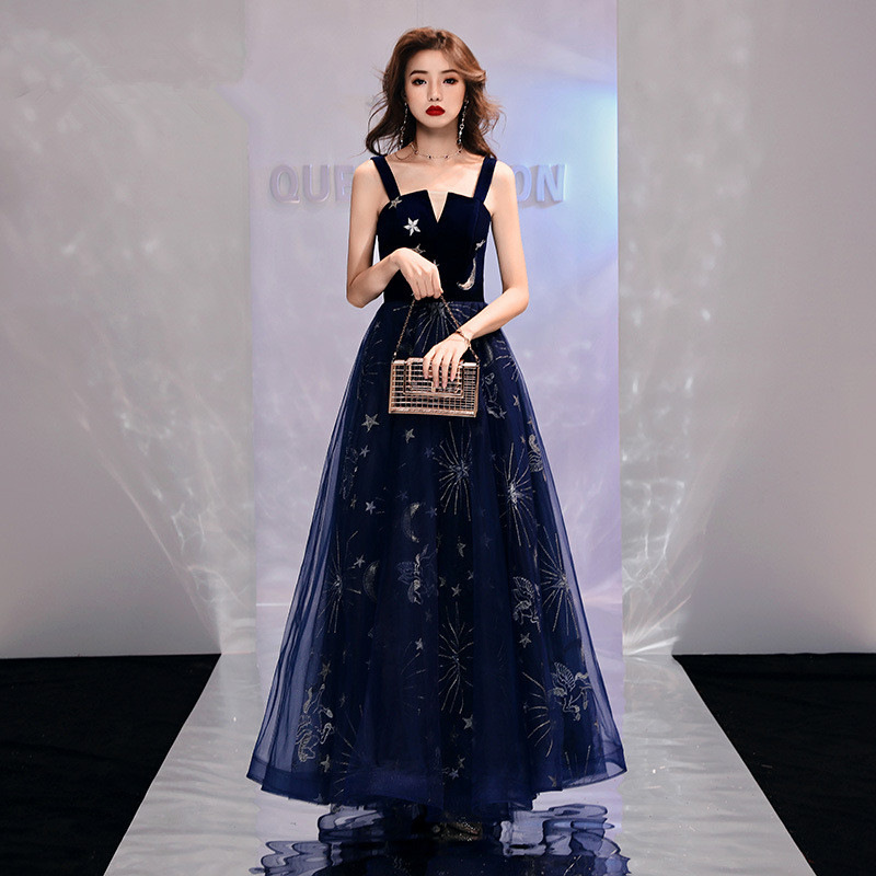 Sleeveless   Evening     Dress   Shining Stars Moon Pattern Long Formal Prom   Dresses   A-line Spaghetti Strap Navy Blue Party Gowns E097
