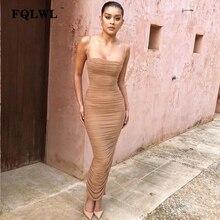 FQLWL Sexy malla de mujeres vestido Verano de 2018 sin tirantes sin espalda  con cremallera dividir Draped Maxi vestido de fiesta. 475a0770c099