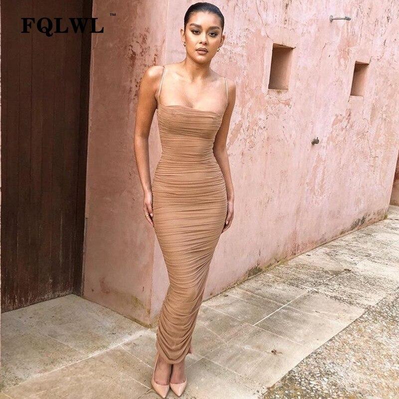 FQLWL Sexy Mesh Women Dress Summer 2018 Strapless Backless Z