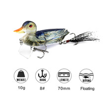 3D Artificial Duck Bait Floating  With Hooks Hard Fishing Wobblers Lure Topwater
