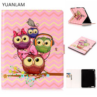 3D Owl Family Pattern Flip Case For Apple IPad Air1 2 With IPad Mini 2 3