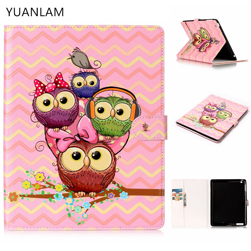 3D owl family pattern Flip Case for Apple iPad air1 2 with iPad mini 2 3 4 5 iPad 2 3 4 pro stand Cover Case Free Shipping cartoon painted flower owl for kindle paperwhite 1 2 3 case flip bracket stand pu cover for amazon kindle paperwhite 1 2 3 case