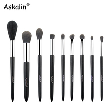 Askalin 9 pcs Classic Matte Black brush Highlight Eye blending  foundation travel Makeup set Shinny handle 2019 NEW