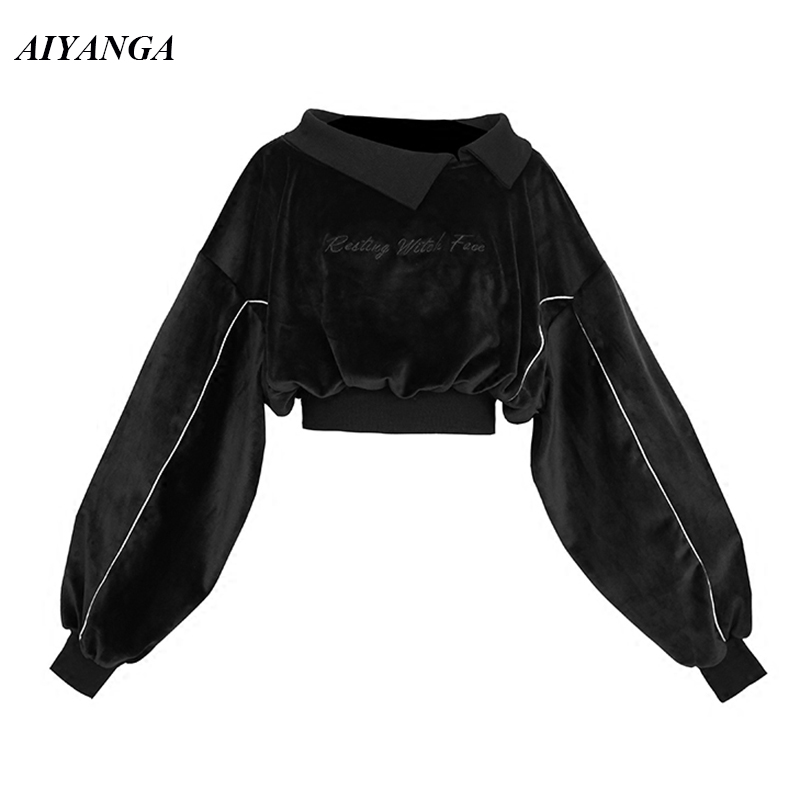 Black Velvet Hoodies Women 2018 Autumn Winter Hoodies Female Short Style Embroidery Letter High Waist Sweatshirts Loose Tops