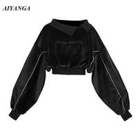 Black Velvet Hoodies Women 2018 Autumn Winter Hoodies Female Short Style Embroidery Letter High Waist Sweatshirts Loose Tops