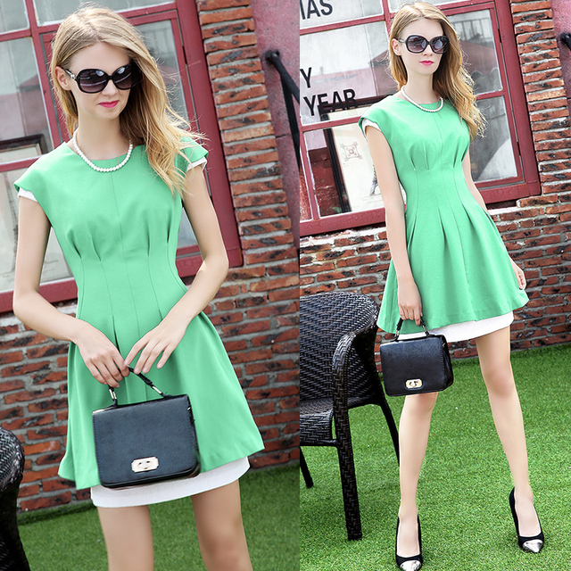 designers beautiful elegant fresh and young false two piece dress 2016 lady summer wear cool buy fresh cool summer