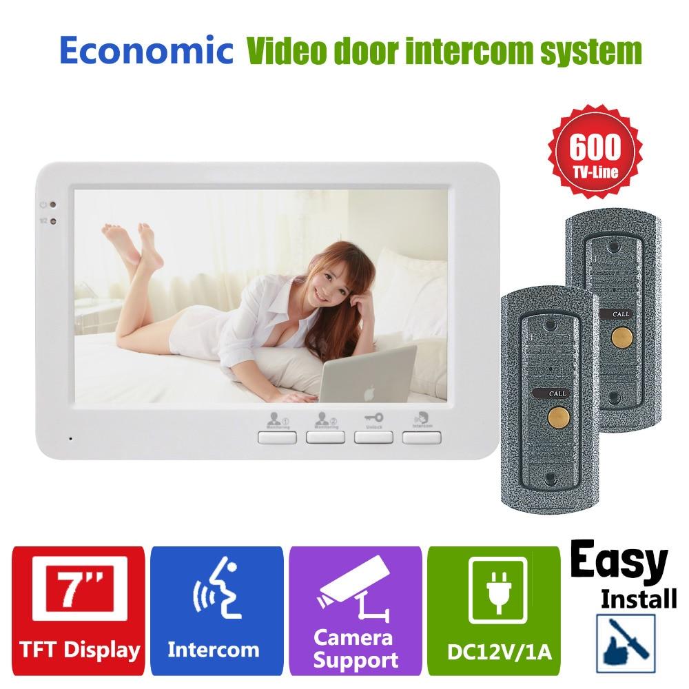Homefong 7inch TFT Door Intercom Video Doorbell Phone System 2 Cameras 1 Monitor for Door Answering Service
