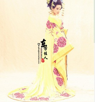 Delicate Embroidery Yellow Empress Costume with Long Tail TV Play Legend of Chinese Empress Wu Meiniang Tang Costume Hanfu han dynasty empress wu zetian cosplay hair empress hair tang empress hair chinese ancient hair for women