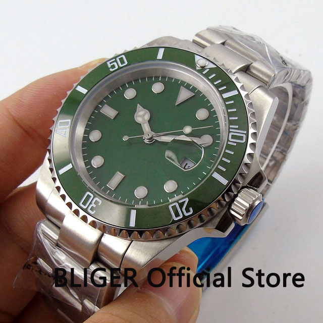 Sapphire Crystal BLIGER 40MM Green Dial Ceramic Bezel Luminous Marks Date MIYOTA Automatic Movement Men s