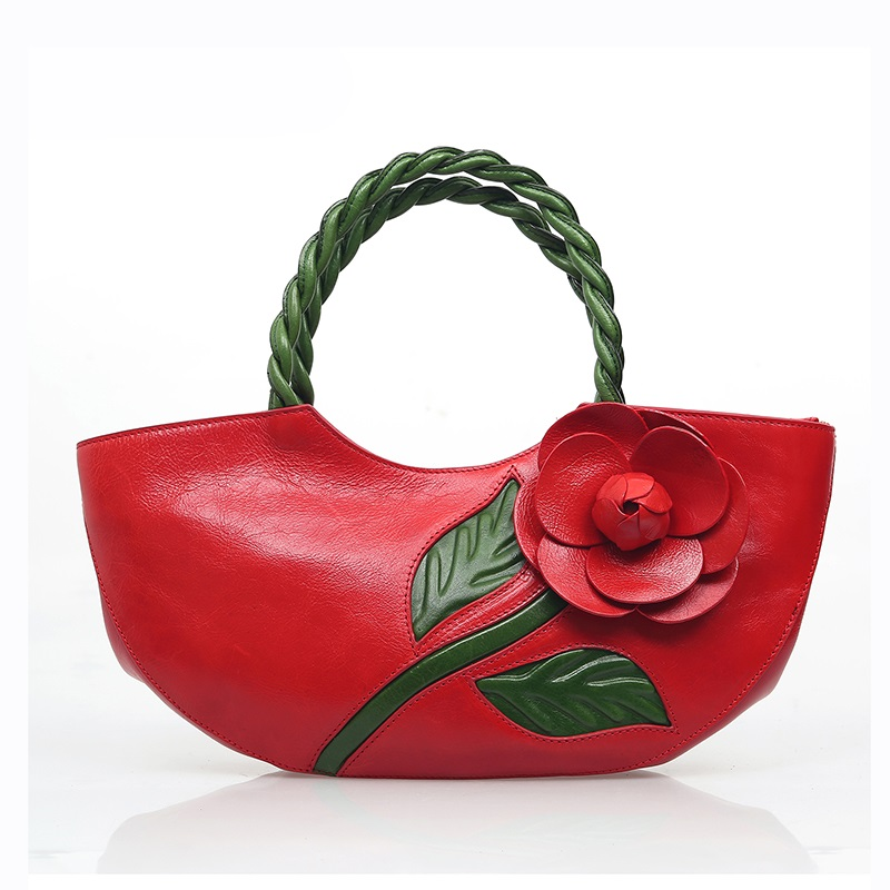 Women leather handbags high quality real cow genuine leather bags 2017 new chinese style ladies tote bag floral top-handle bags chinese national style 2017 women bags casual bag top handle bag high quality soft pu zipper versatile one sequined belt