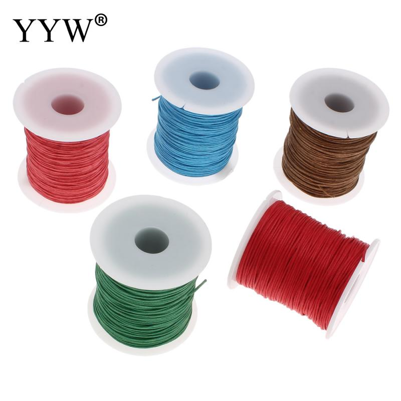 2017 Free shipping 100Yards/Spool <font><b>Wax</b></font> Cord with plastic spool DIY Making for Necklace Bracelet 1mm Waxed Cotton Cord <font><b>Wax</b></font> Cord image