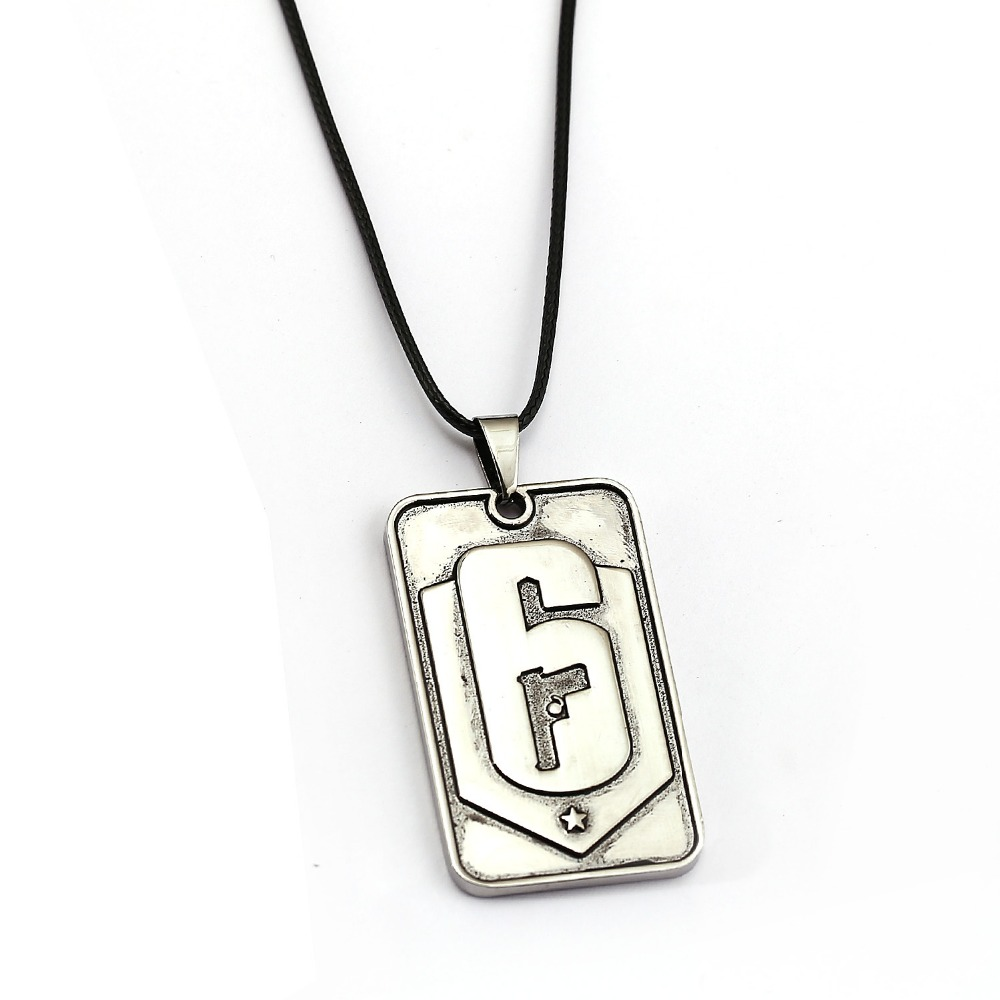 Rainbow six siege 6 necklace silver dog tag pendant fashion rope rainbow six siege 6 necklace silver dog tag pendant fashion rope chain necklaces women men charm gifts game jewelry in pendant necklaces from jewelry aloadofball Images