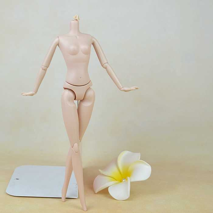 "Naked 12 Moveable Joints Chinese Doll Accessories For 11.5"" Dollhouse 1/6 Doll Body + Head With Long Ponytail Hair Doll"