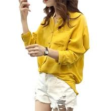 Autumn 2016 Fashion Women Casual Loose Long Sleeve Cotton Linen Shirts Solid Button Blouses Tops Blusas Plus Size