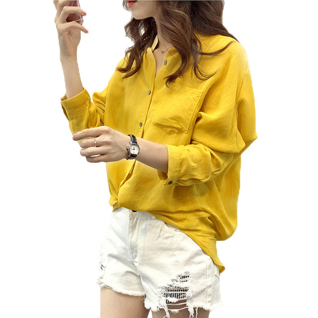 Autumn 2016 Fashion Women Casual Loose Long Sleeve Cotton Linen Shirts Solid Button Blouses Tops Blusas Plus Size