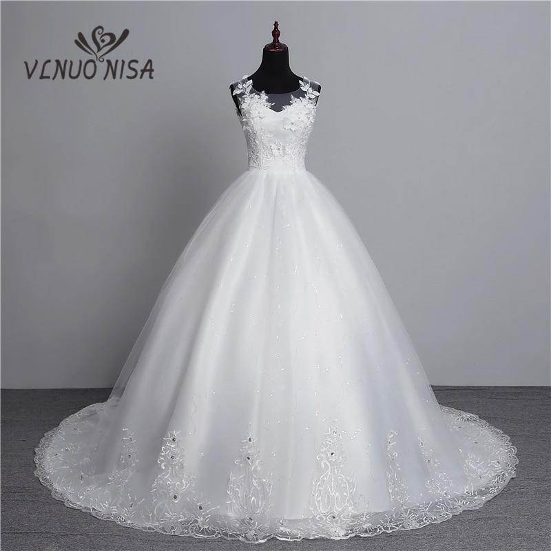 13efbc34567 100% Real Photo New Arrival Vestido de Noiva 2018 Big Train Wedding Dresses  Tulle Back