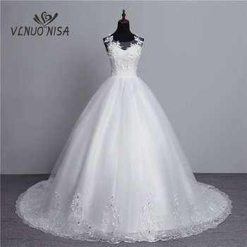 100% Real Photo New Arrival Vestido de Noiva 2019 Big Train Wedding Dresses Tulle Back Sexy Sweet Bride Dress Gowns with Flower