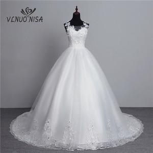 Image 1 - Foto real nova moda vestido de noiva 2020 grande trem o neck plus size vestidos de casamento tule voltar sexy vestidos de noiva doce flor