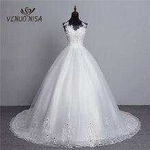 Foto reale di Nuovo Modo Vestido de Noiva 2020 Grande Treno Con Scollo A V Plus Size Abiti Da Sposa di Tulle Torna Sexy Dolce abiti Da sposa Fiore