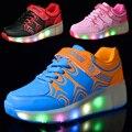 2017 nuevos niños de las zapatillas de deporte de luz led roller skate shoes para niños niñas con ruedas calientes