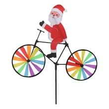 3D большой Санта-Клаус на велосипеде ветряная мельница ветряная вертушка дворовый садовый декор Oct23-C